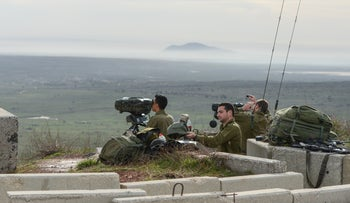 Israeli soldiers in the northern Golan Heights after an Iranian drone penetrated Israeli airspace and was shot done, February 10, 2018.