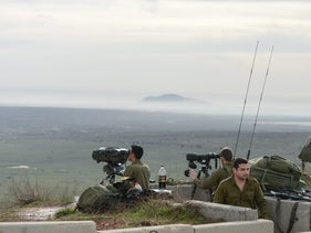 Israeli troops at the northern Golan Heights on February 10, 2018 following the weekend's escalation.