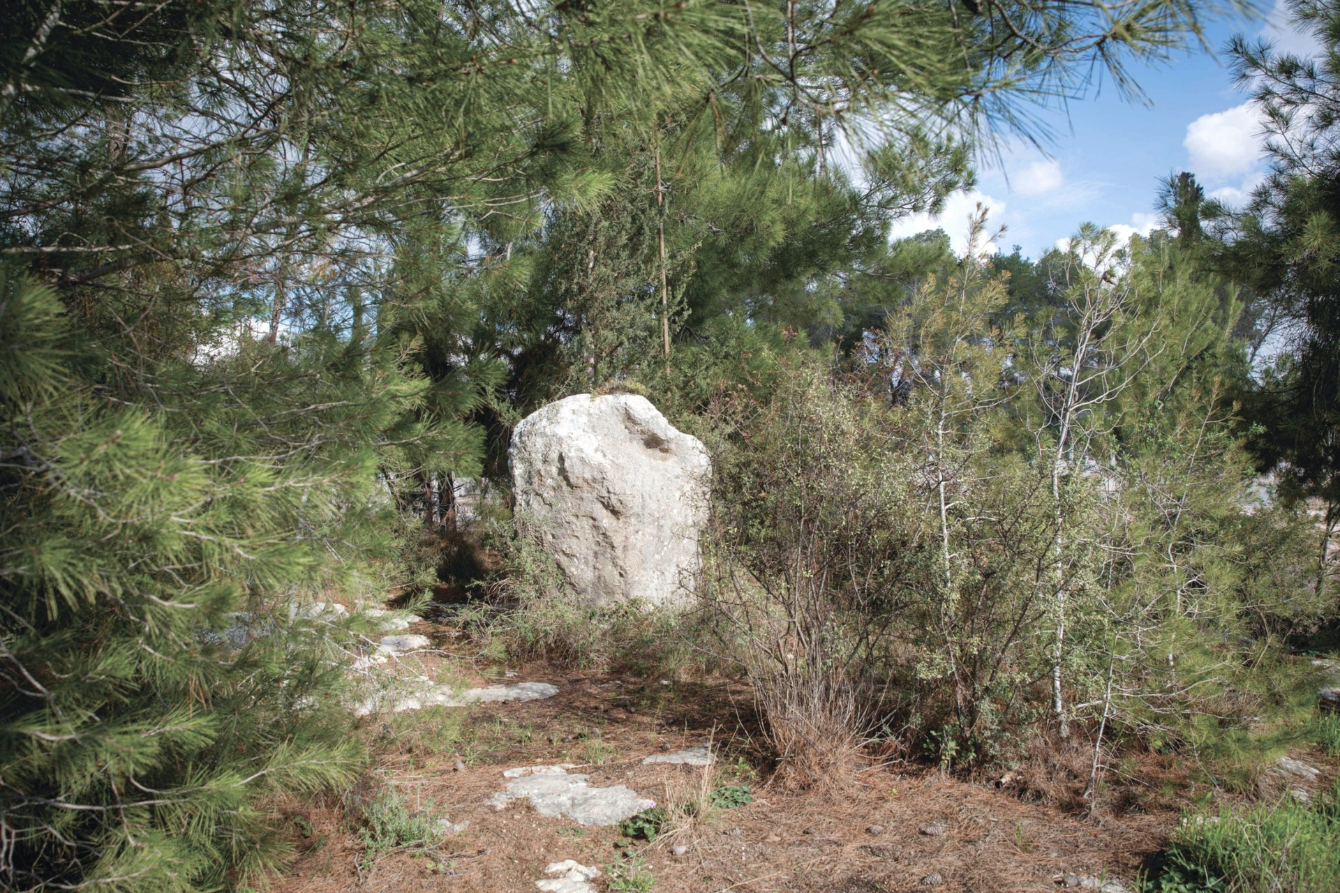 The Stone of Destruction, situated on a hill in the Eretz Hachaim Cemetery, near Moshav Eshtaol.