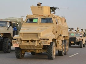 Egyptian Army's Armoured Vehicles are seen on a highway to North Sinai during a launch of a major assault against militants, in Ismailia, Egypt, in this undated handout picture made available by the Ministry of Defence, February 9, 2018.