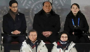 South Korean President Moon Jae-in and his wife Kim Jung-sook, North Korea's nominal head of state Kim Yong Nam, and North Korean leader Kim Jong Un's younger sister Kim Yo Jong sit at the Winter Olympics opening ceremony in Pyeongchang, South Korea February 9, 2018