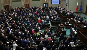Members of Polish Parliament in attendance at a parliament session in Warsaw, November 24, 2017.