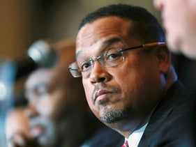 In this Dec. 2, 2016, file photo, Minnesota Rep. Keith Ellison listens during a forum on the future of the Democratic Party in Denver