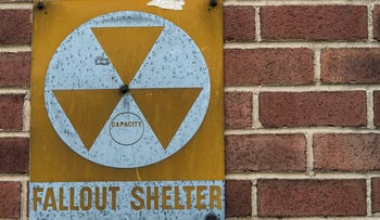Sign for one of about 18,000 fallout shelters set up in U.S. cities in the early 1960s amid the nuclear arms race. East 9th Street, New York. Jan. 16, 2018