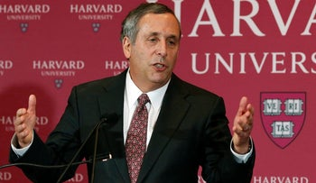 Lawrence Bacow speaks after being introduced as the 29th president of Harvard University on Sunday, February 11, 2018, in Cambridge, Massachusetts.