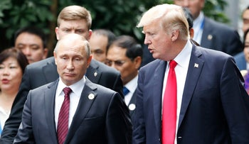 File photo: U.S. President Donald Trump and Russian President Vladamir Putin at an APEC in Vietnam on November 11, 2017.