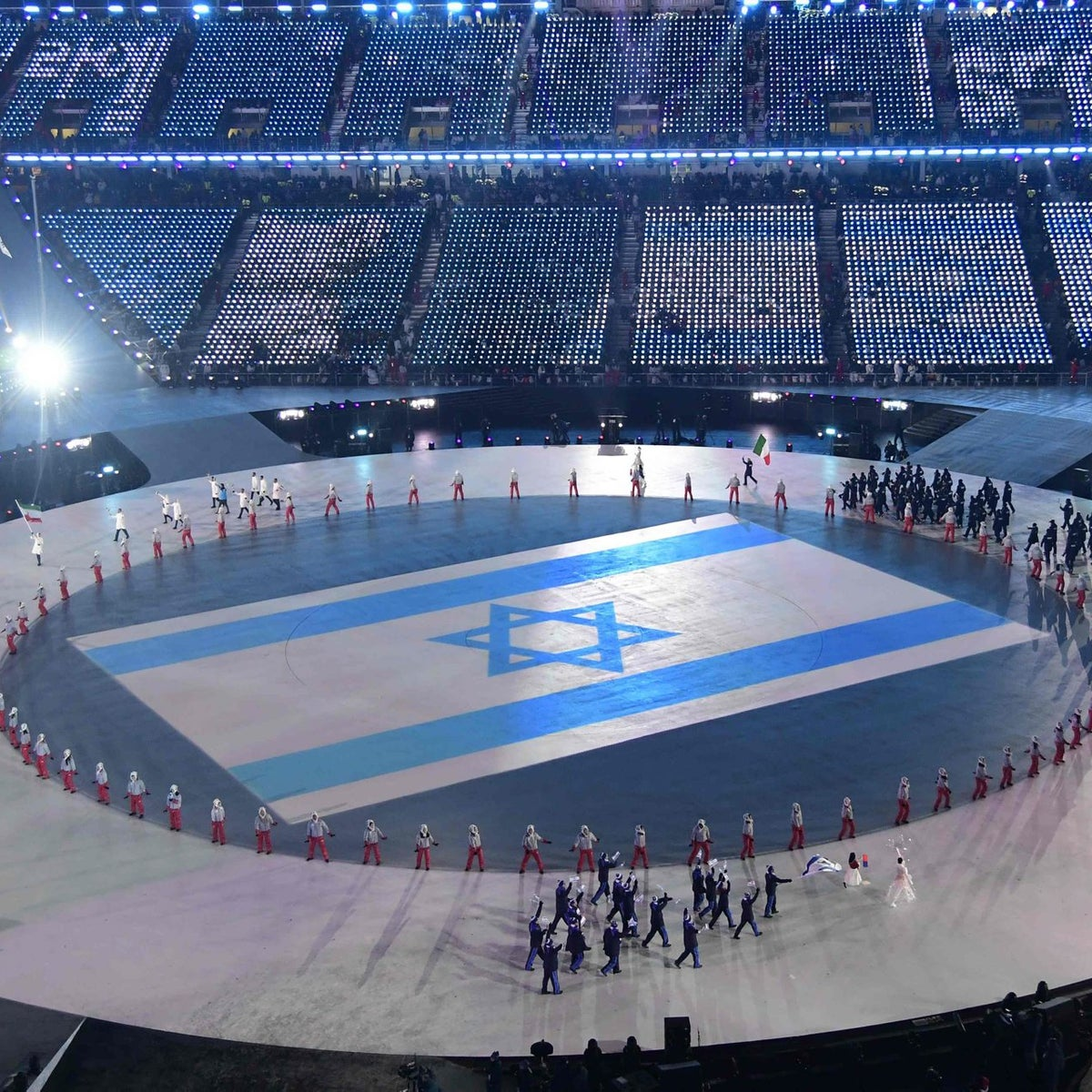 The Israelian delegation parades during the opening ceremony of the Pyeongchang 2018 Winter Olympic Games at the Pyeongchang Stadium on February 9, 2018.