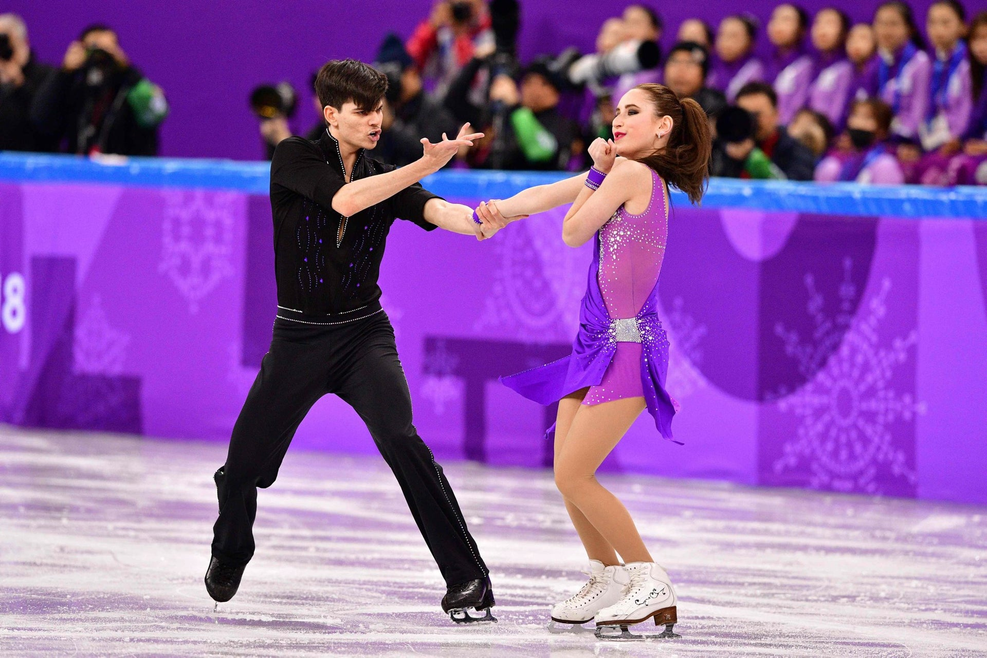 Israel's Adel Tankova and Israel's Ronald Zilberberg compete in the figure skating team event ice dance short dance during the Pyeongchang 2018 Winter Olympic Games at the Gangneung Ice Arena in Gangneung on February 11, 2018.