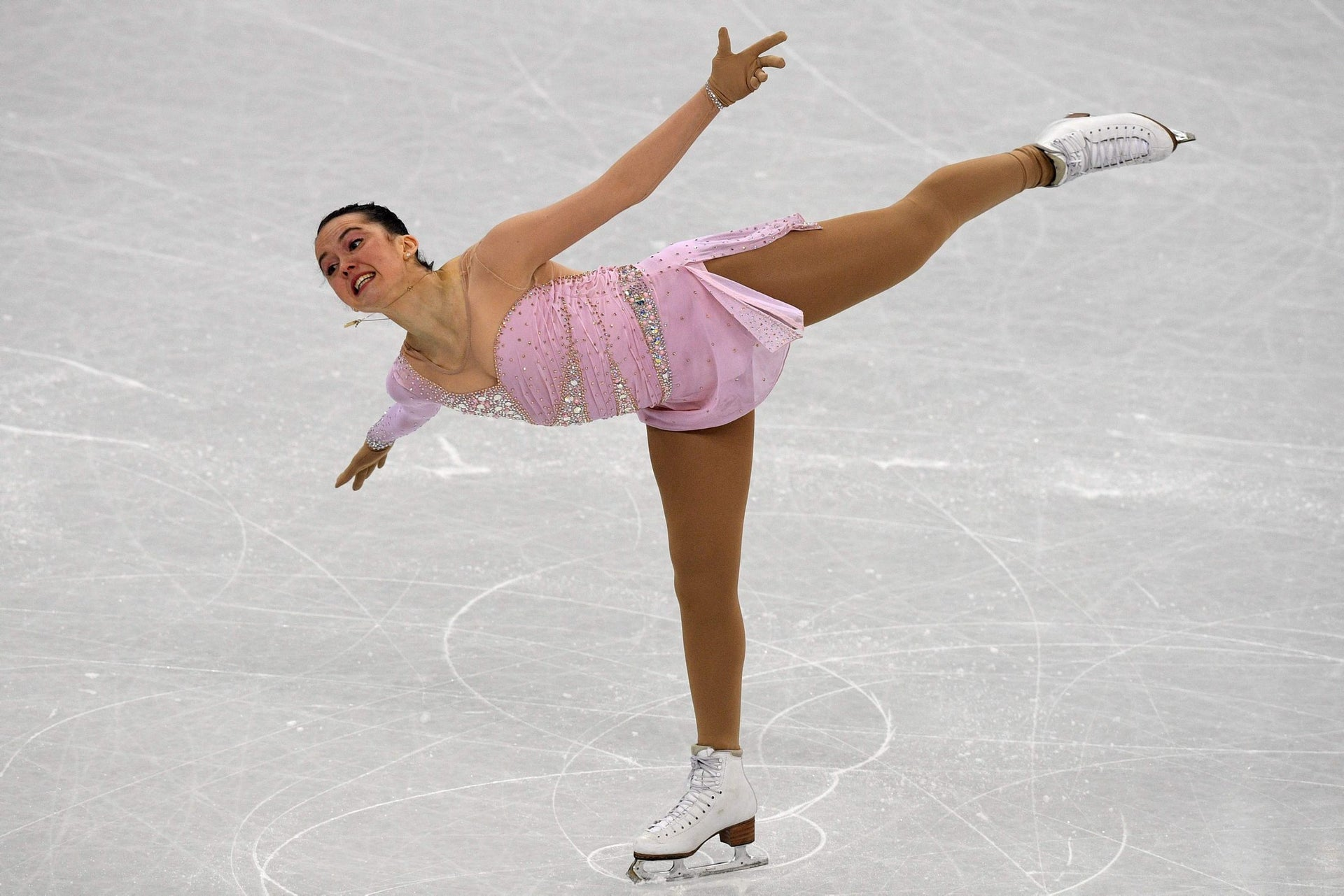 Israel's Aimee Buchanan competes in the figure skating team event women's single skating short program during the Pyeongchang 2018 Winter Olympic Games at the Gangneung Ice Arena in Gangneung on February 11, 2018.