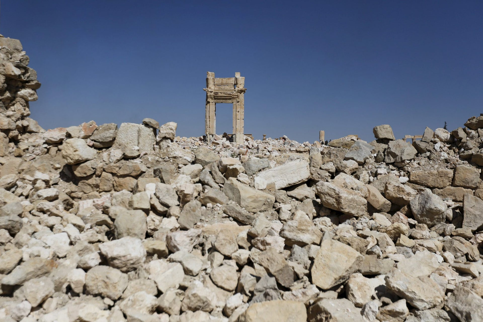 The remains of the Temple of Bel in Palmyra, Homs, Syria, April 1, 2016.