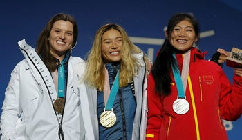 Gold medalist Chloe Kim of the U.S., silver medalist Liu Jiayu of China and bronze medalist Arielle Gold of the U.S. on the podium
