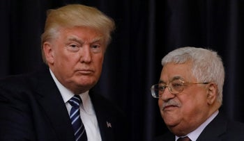 U.S. President Donald Trump and Palestinian President Mahmoud Abbas shake hands after their meeting at the Presidential Palace in the West Bank city of Bethlehem May 23, 2017.