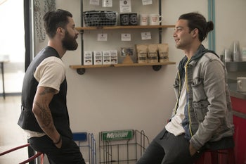 Andy Bean and Daniel Zovatto in HBO's new series 'Here and Now.'