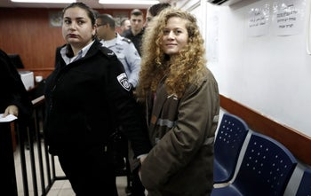 Ahed Tamimi at the beginning of her trial in the Ofer military prison in the West Bank, February 13, 2018.