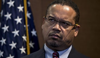 Representative Keith Ellison, a Democrat from Minnesota, listens during a news conference in Washington, December 8, 2016.