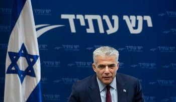 Head of political party Yesh Atid speaking at a party meeting in Jerusalem on February 13, 2018.