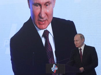 Russian President Vladimir Putin attends a session during the Week of Russian Business, organized by the Russian Union of Industrialists and Entrepreneurs (RSPP), in Moscow, Russia February 9, 2018