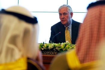 U.S. Secretary of State Rex Tillerson answers a journalist's question during a news conference in Kuwait City, Kuwait, Tuesday, Feb. 13, 2018.