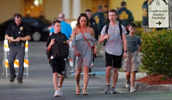 Family members picking up students of Marjory Stoneman Douglas High School in Parkland, Florida, at a nearby hotel, February 14, 2018.