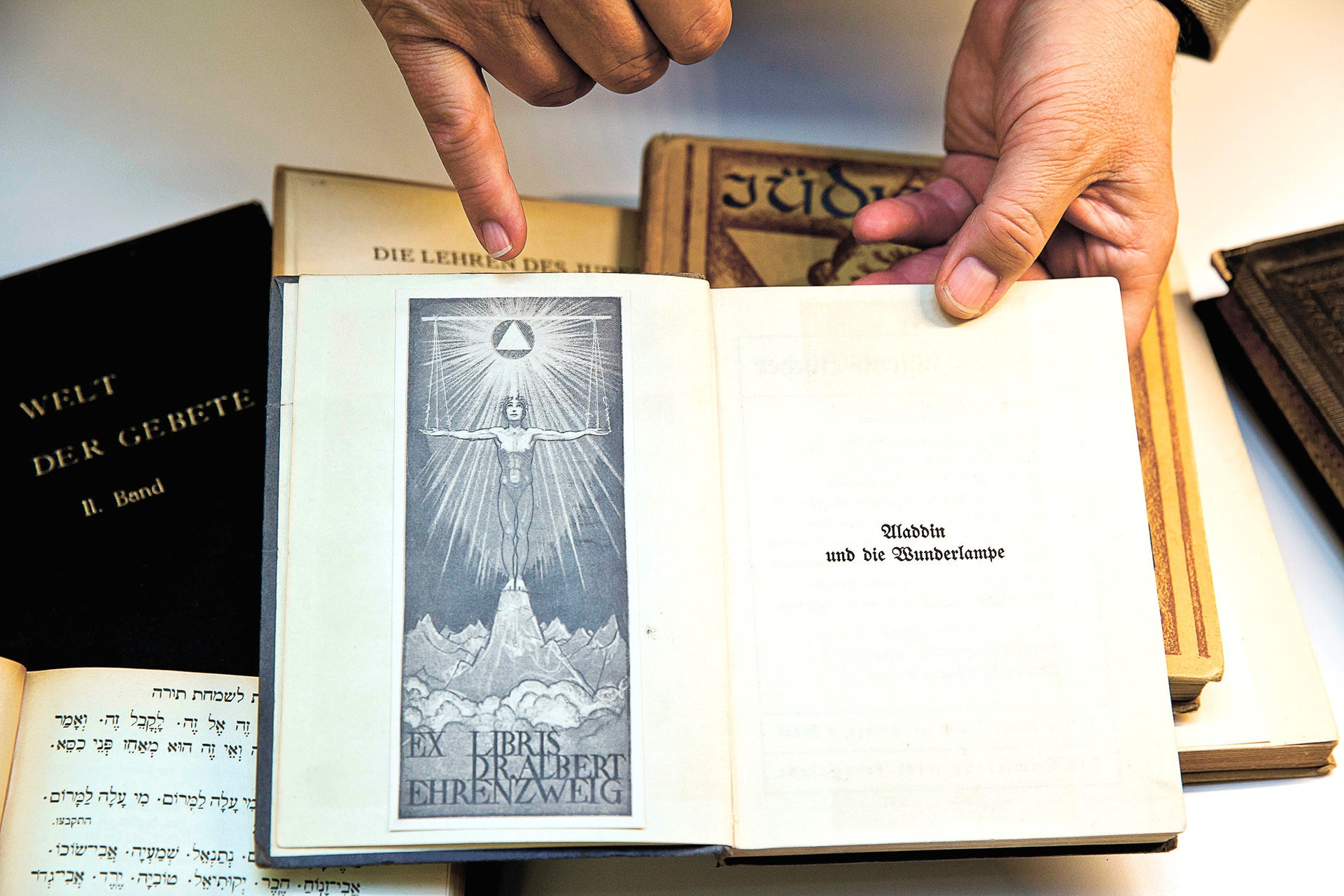 A book of Masonic symbols that was confiscated by the Nazis, and now on display at a library in Nuremberg.