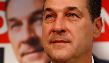 Head of Austrian far-right Freedom Party (FPO) Heinz-Christian Strache at a news conference in Vienna, Austria. September 25, 2017.