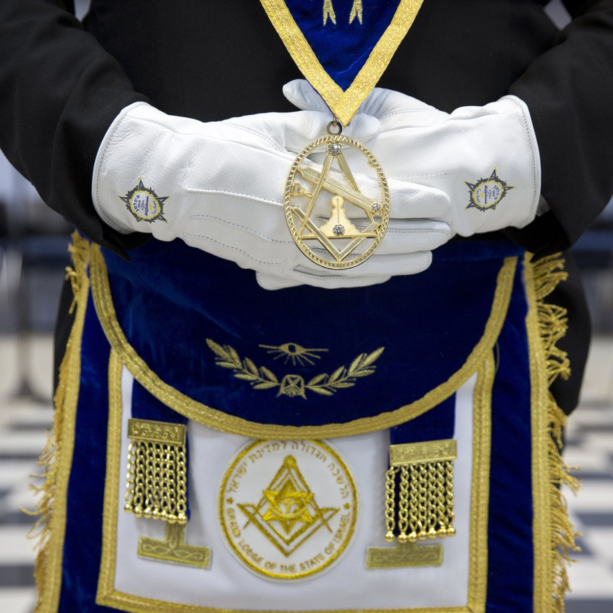 The Freemason symbols are displayed at the Grand Lodge of the Freemasons in Israel, in Tel Aviv.