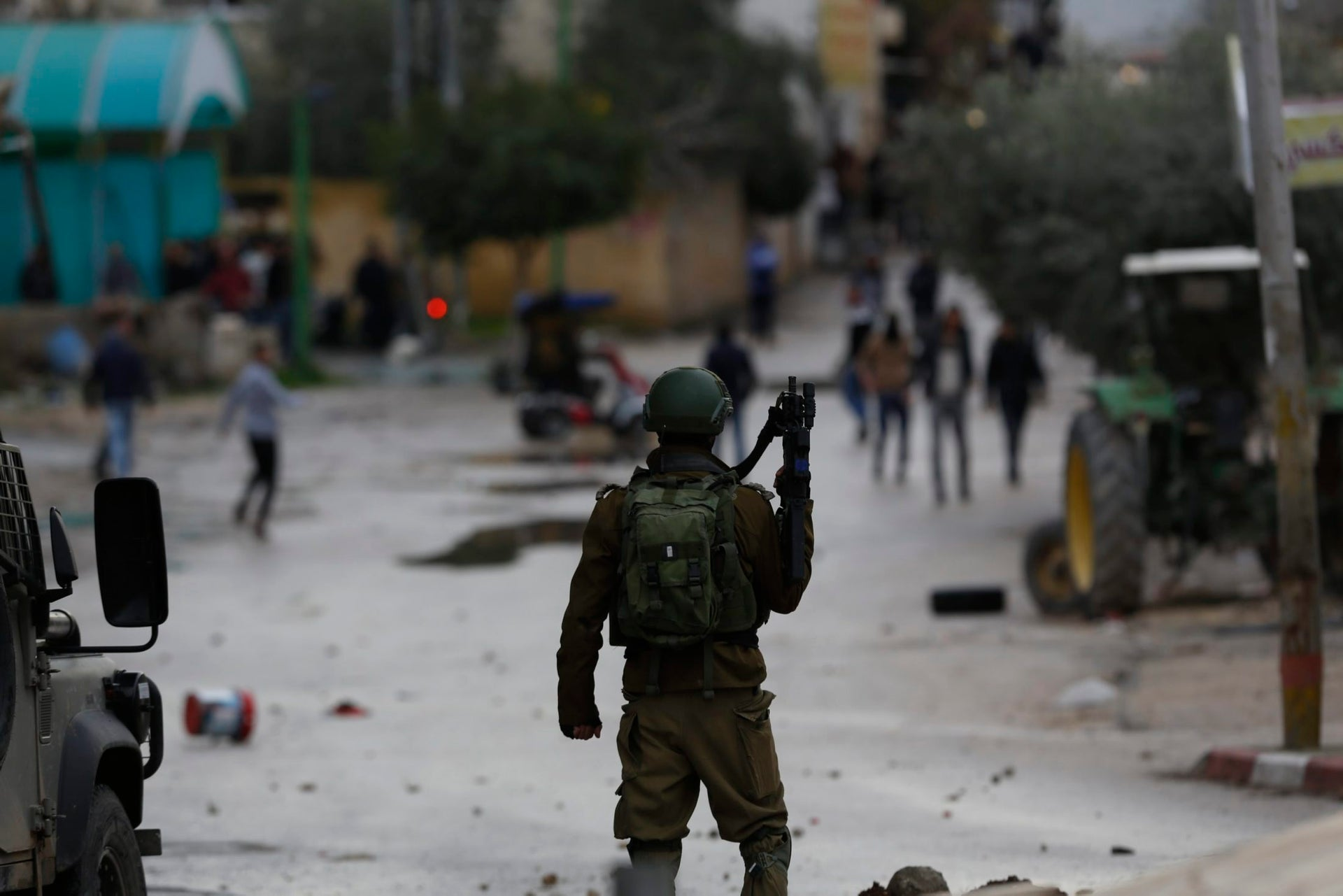 Palestinians clash with Israeli troops in the West Bank city of Jenin, Jan. 18, 2018.