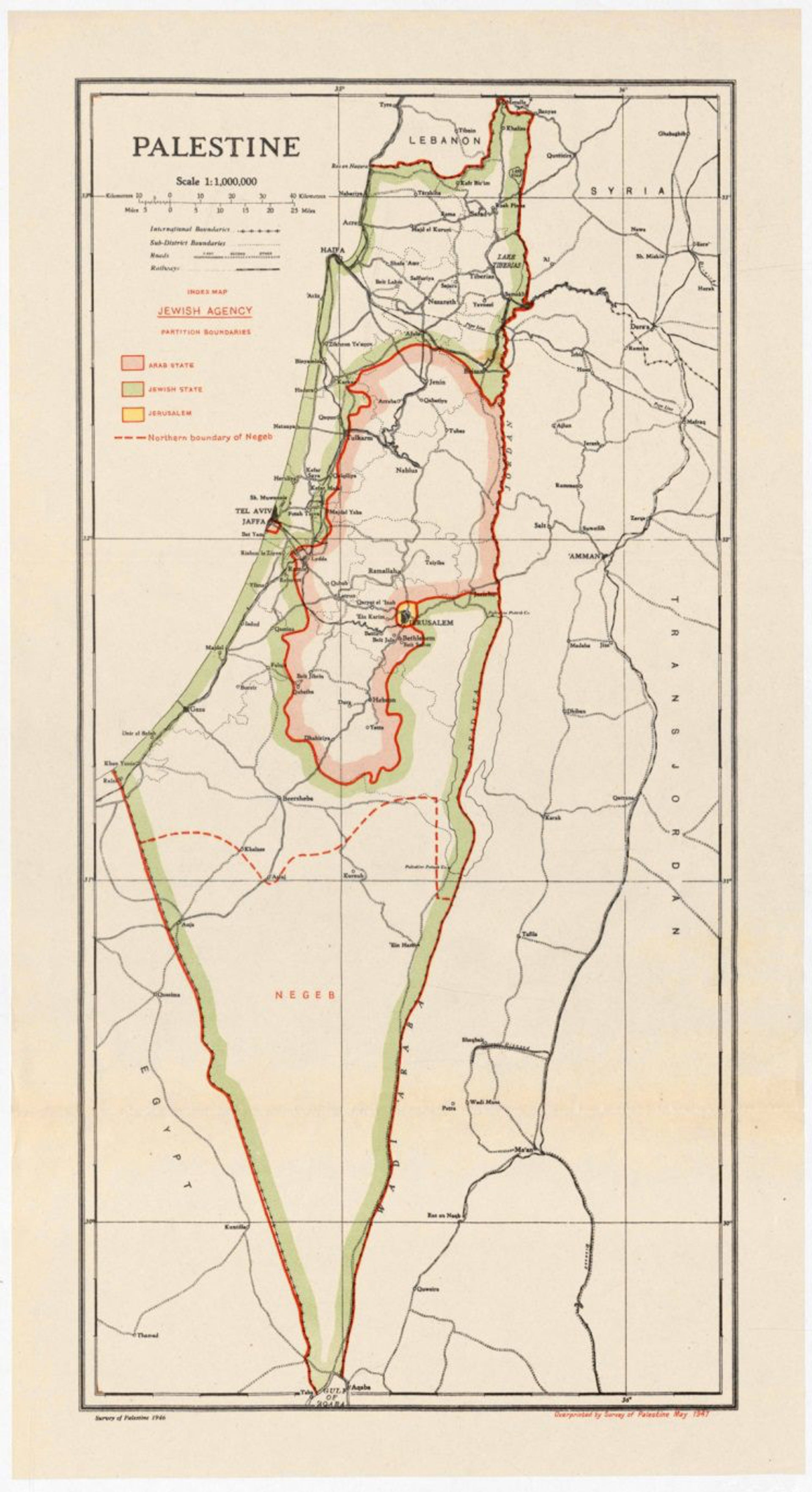 David Ben-Gurion partition map from 1947.