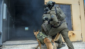 Soldiers from the Israel Defense Forces' canine unit.