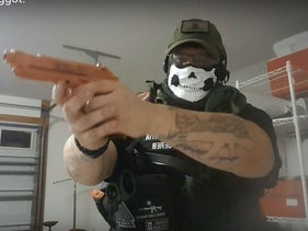Man from the the Republic of Florida militia with the skull mask affiliated with neo-Nazi group Attomwaffen Division