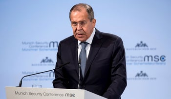 Russia's foreign minister, Sergey Lavrov, speaks at the Security Conference in Munich, Germany, February 17, 2018.