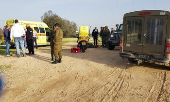 Israeli soldiers who were wounded when a device exploded near Israel's border with Gaza are evacuated to a nearby hospital, February 17, 2018.