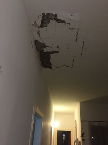 The damaged roof of a home that was struck by a rocket fired from the Gaza Strip, Sha'ar Hanegev Regional Council, Israel, February 16, 2018.