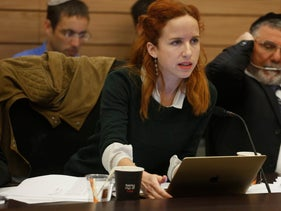 MK Stav Shaffir during a budget discussion at the Knesset's Finance Committee.