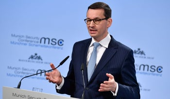 Polish Prime Minister Mateusz Morawiecki during the Munich Security Conference on February 17, 2018