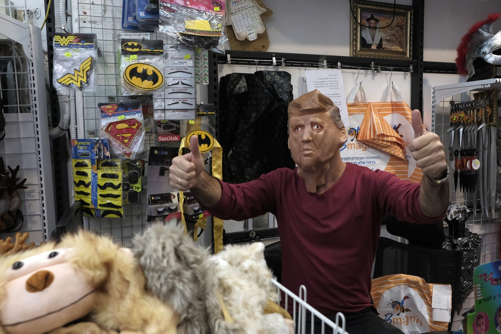 A man posing as President Donald Trump in the Effects store in Herzliya.