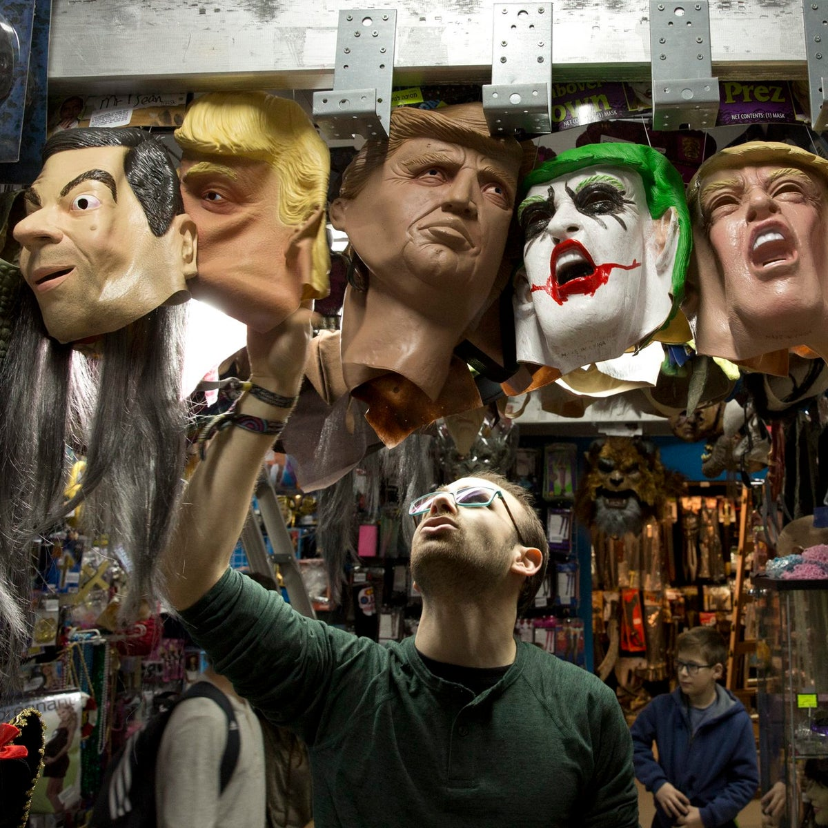 An array of Trump masks on sale at Effects costume story in Herzliya. Note the interesting placement of a Mr. Bean mask next to the Trumps.