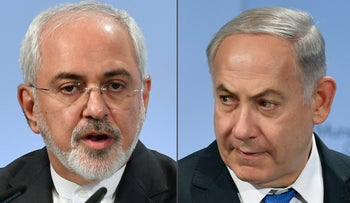 Iranian Foreign Minister Mohammad Javad Zarif and Prime Minister Benjamin Netanyahu at the Munich Security Conference on February 18, 2018.