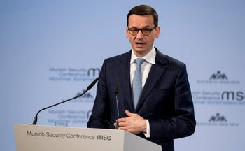 Poland's Prime Minister Mateusz Morawiecki speaking at the Munich Security Conference, February 17, 2018.
