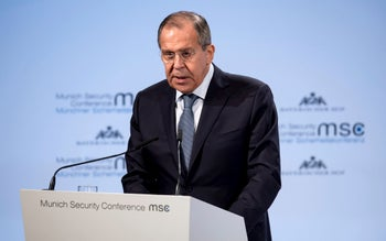 Russia's foreign minister, Sergey Lavrov, in Munich, Germany, Saturday, Feb. 17, 2018