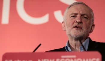 Britain's opposition Labour Party leader, Jeremy Corbyn, speaks at a conference on alternative models of ownership, in central London, Britain February 10, 2018.
