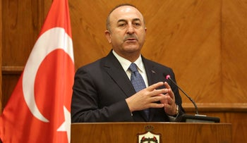 Turkish Foreign Minister Mevlut Cavusoglu in Amman, Jordan, Monday, Feb. 19, 2018.