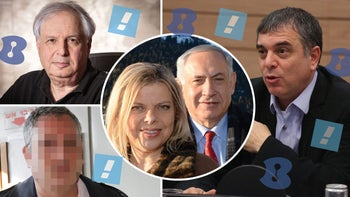 Clockwise from top left: Shaul Elovitch, Sara and Benjamin Netanyahu, Shlomo Filber, and a Netanyahu confidant.
