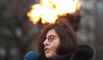 Israeli Ambassador to Poland, Anna Azari, speaks during a ceremony marking the 13th International Day of Commemoration in Memory of the victims of the Holocaust, at the Monument to the Heroes of the Warsaw Ghetto in Warsaw, Poland, Monday, Jan. 29, 2018