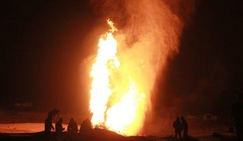 The gas pipeline leading from Egypt to Israel was blown up west of al-Arish, North Sinai, February 5, 2012. Up to that point the pipeline had already been blown up 12 times.