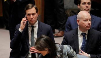 U.S. United Nations ambassador Nikki Haley, White House senior adviser Jared Kushner and Middle East Envoy Jason Greenblatt wait for a meeting of the UN Security Council at UN headquarters in New York on February 20, 2018.