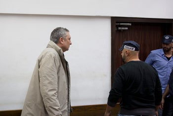 Nir Hefetz in Tel Aviv Magistrate's Court in connection with Case 4000, February 18, 2018.