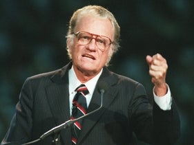 Evangelist Billy Graham begins his sermon in Atlanta's Georgia Dome on October 26, 1994.