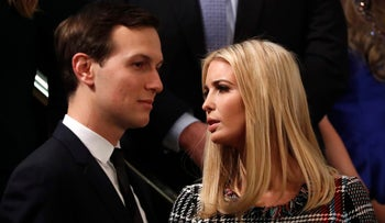 Jared Kushner and Ivanka Trump watch during the president's State of the Union address to a joint session of the U.S. Congress on Capitol Hill, Washington, January 30, 2018.