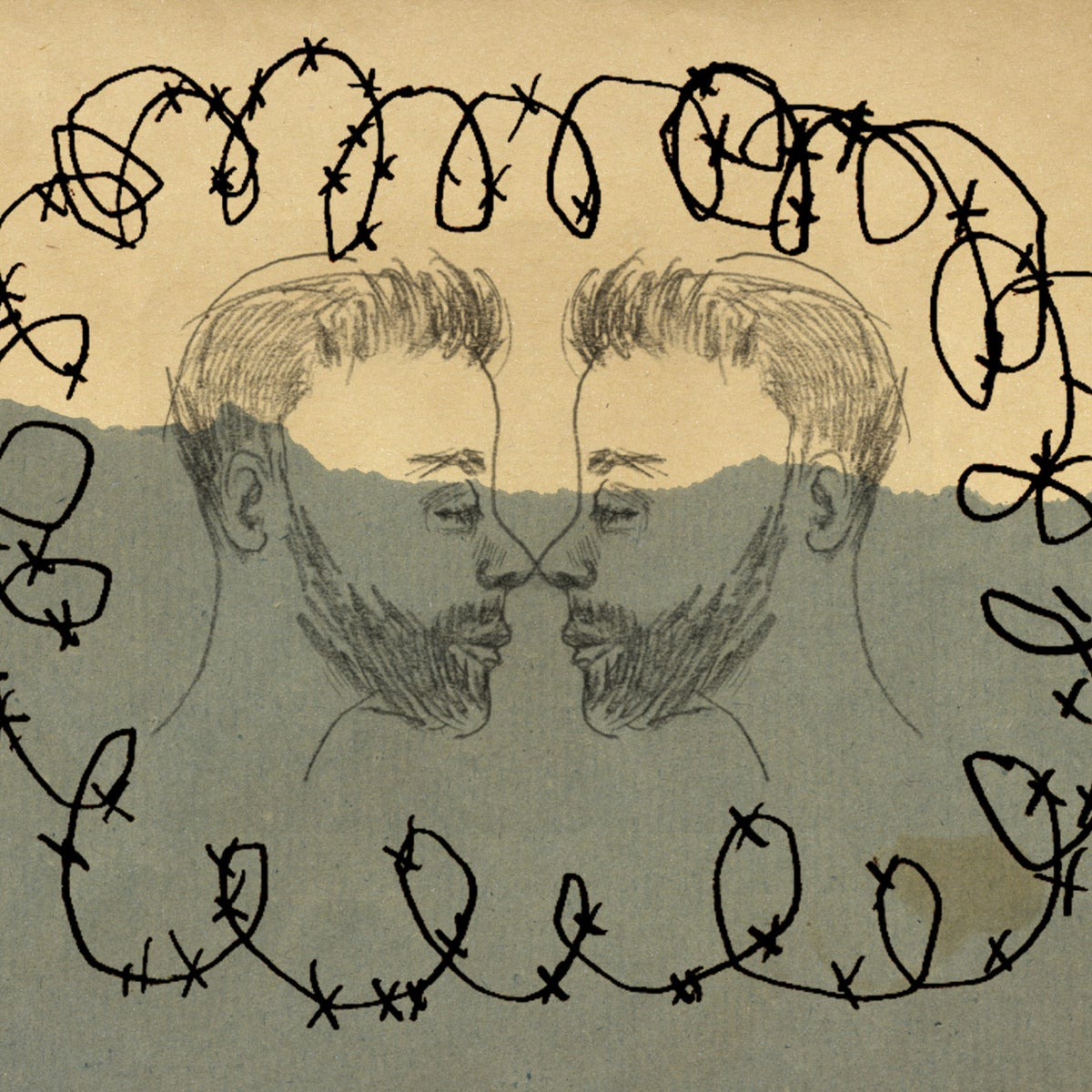 An illustration of two men facing each other, framed by barbed wire.